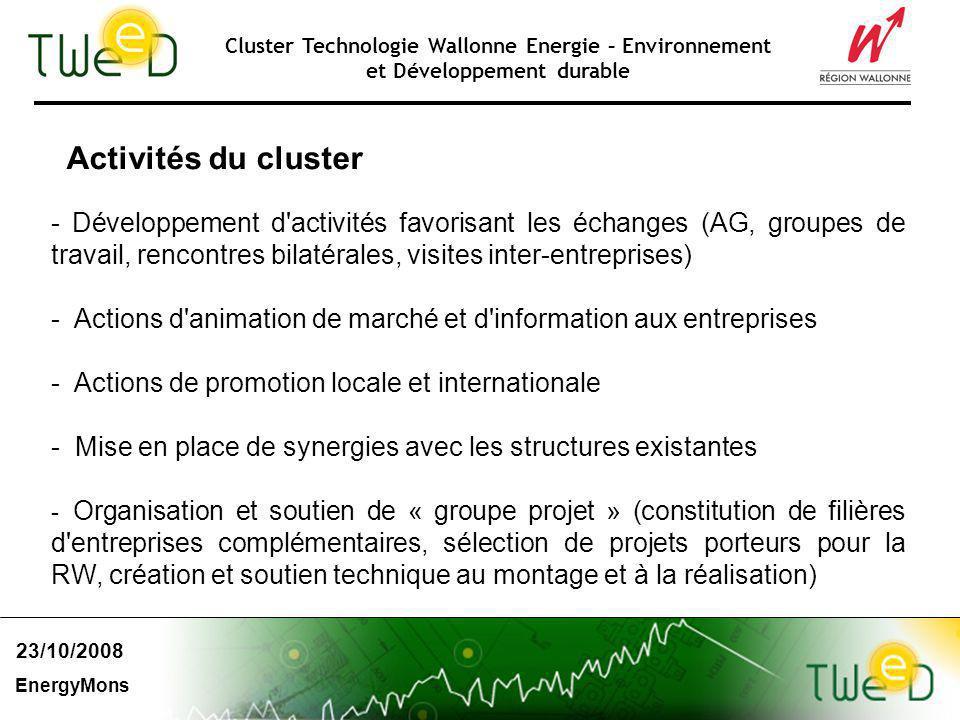 Cluster Technologie Wallonne Energie – Environnement et Développement durable Activités du cluster - Développement d'activités favorisant les échanges