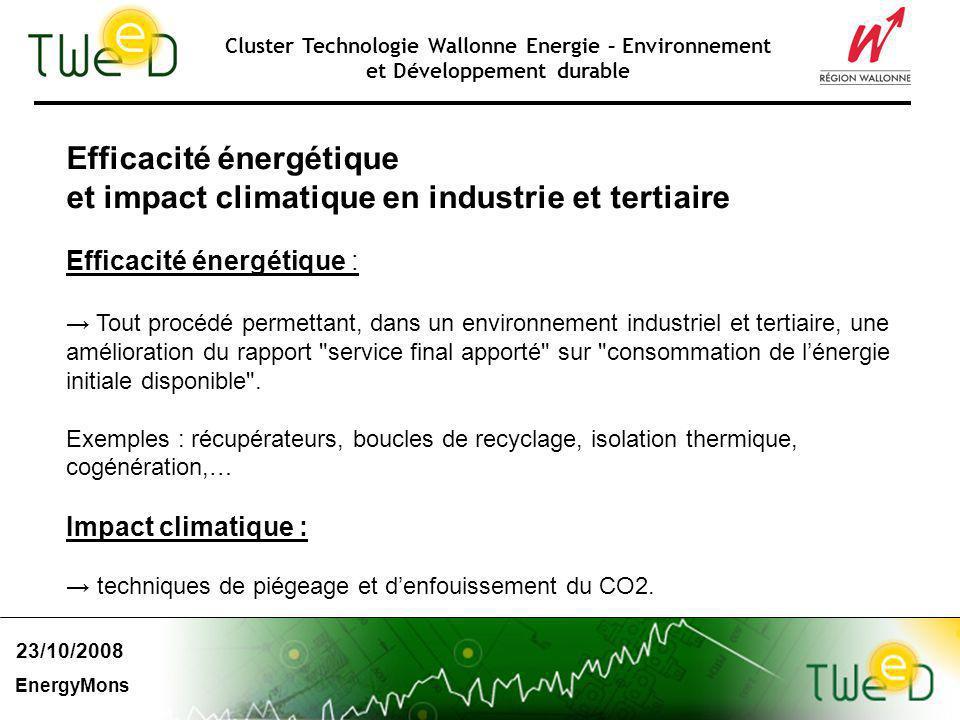 Cluster Technologie Wallonne Energie – Environnement et Développement durable Efficacité énergétique et impact climatique en industrie et tertiaire Ef