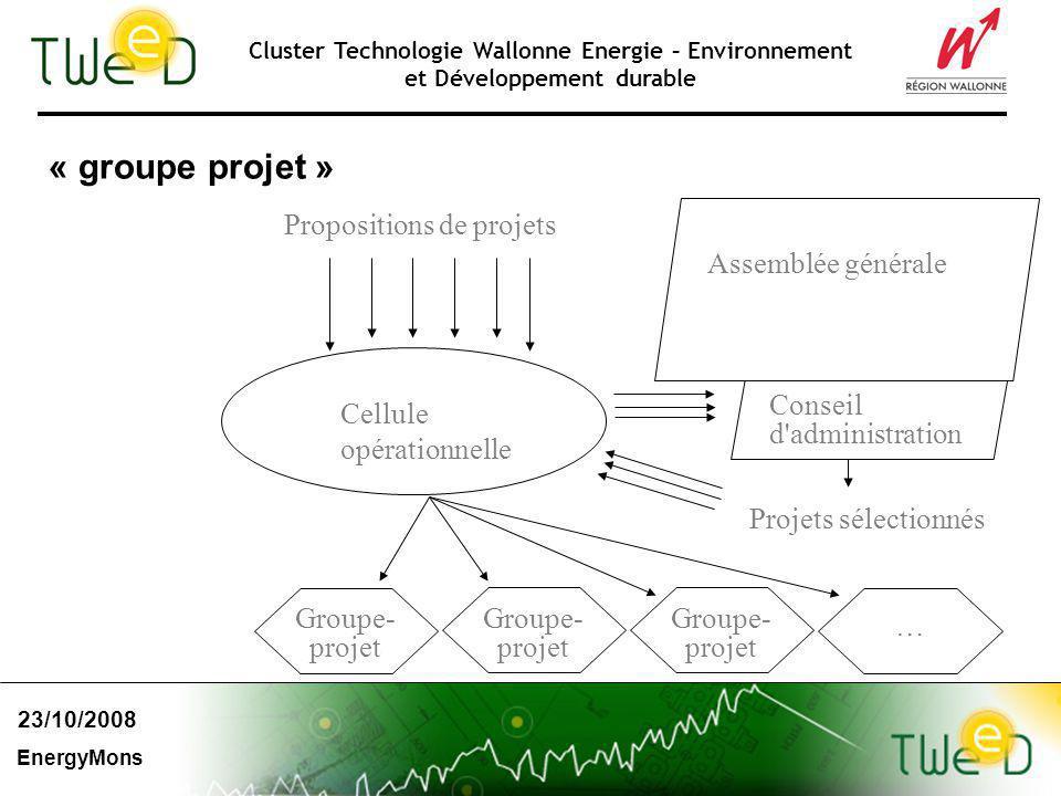 Cluster Technologie Wallonne Energie – Environnement et Développement durable « groupe projet » Cellule opérationnelle Conseil d'administration Groupe