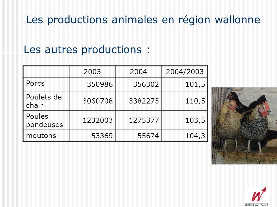 Les productions animales en région wallonne Production de viande 2004/2003 : +2,5 % Race des vaches : blanc-bleu : 58% Pie-noire : 25 % Quota laitier : 1,232 milions de litres Le cheptel bovin :