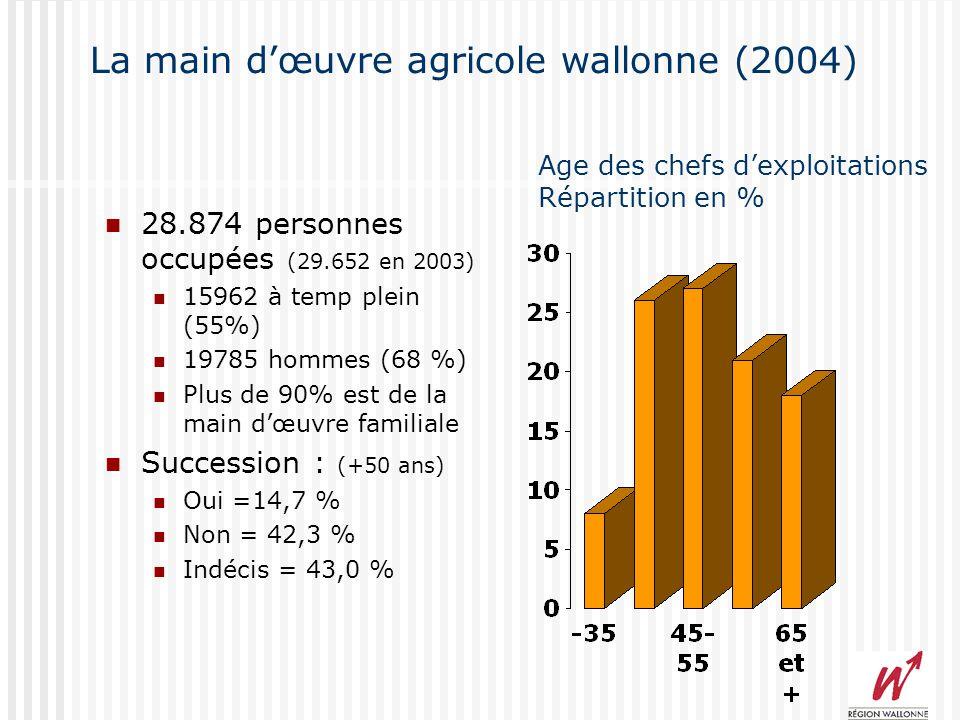 La main dœuvre agricole wallonne (2004) 28.874 personnes occupées (29.652 en 2003) 15962 à temp plein (55%) 19785 hommes (68 %) Plus de 90% est de la main dœuvre familiale Succession : (+50 ans) Oui =14,7 % Non = 42,3 % Indécis = 43,0 % Age des chefs dexploitations Répartition en %