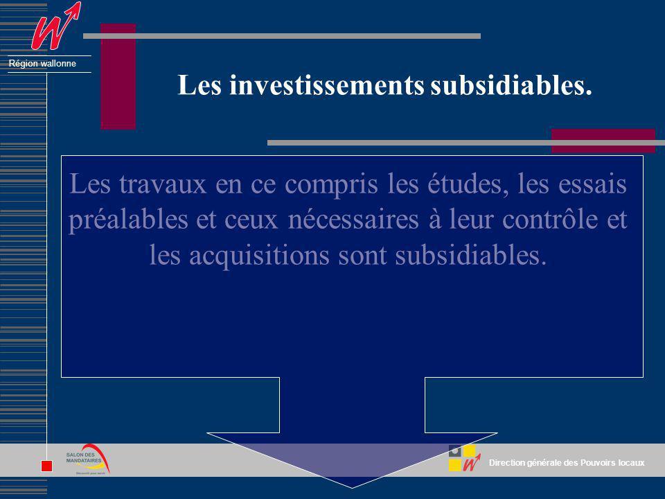 Direction générale des Pouvoirs locaux Région wallonne Les investissements subsidiables. Les travaux en ce compris les études, les essais préalables e