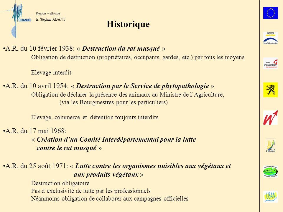 Région wallonne Ir. Stephan ADANT Historique A.R. du 10 février 1938: « Destruction du rat musqué » Obligation de destruction (propriétaires, occupant