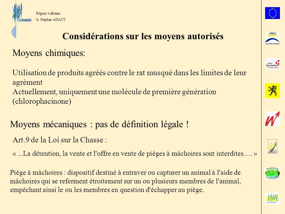 Région wallonne Ir. Stephan ADANT Considérations sur les moyens autorisés Moyens chimiques: Utilisation de produits agréés contre le rat musqué dans l