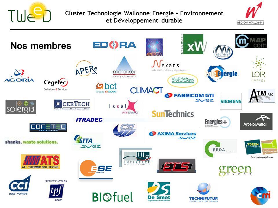 Cluster Technologie Wallonne Energie – Environnement et Développement durable TWEED : Le cluster « énergie durable » 04/09/2008 «Recyclage des AEC» Rochefort Sources dénergie renouvelable Efficacité énergétique et impact climatique en industrie et tertiaire Produits et services « verts »