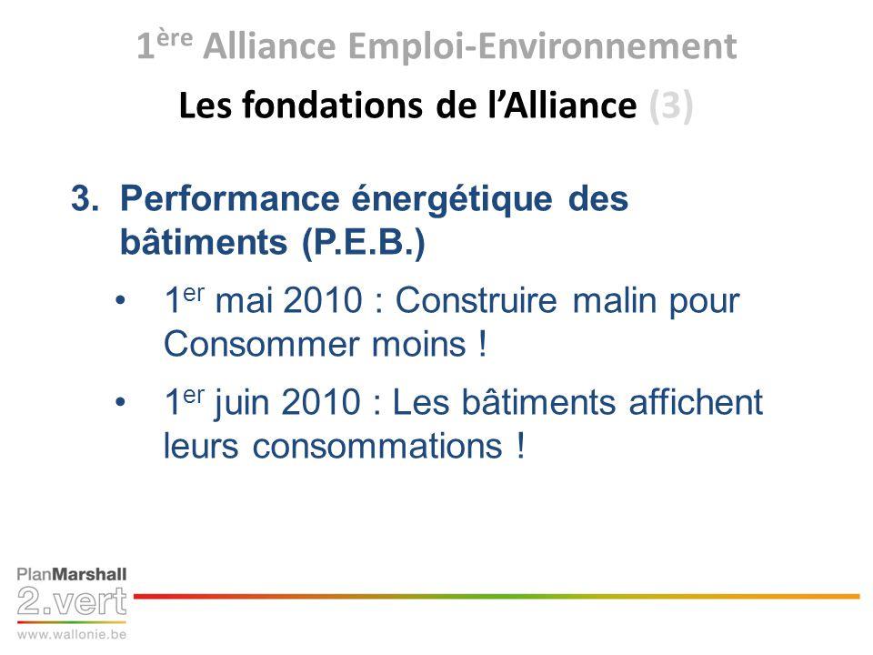 1 ère Alliance Emploi-Environnement Les chantiers de lAlliance aujourdhui lancés !