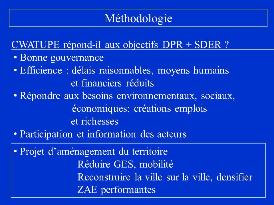 Méthodologie Bonne gouvernance Efficience : délais raisonnables, moyens humains et financiers réduits Répondre aux besoins environnementaux, sociaux,
