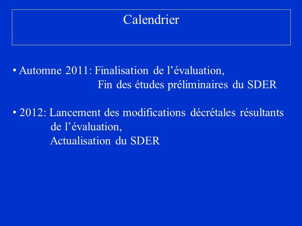 Calendrier Automne 2011: Finalisation de lévaluation, Fin des études préliminaires du SDER 2012: Lancement des modifications décrétales résultants de