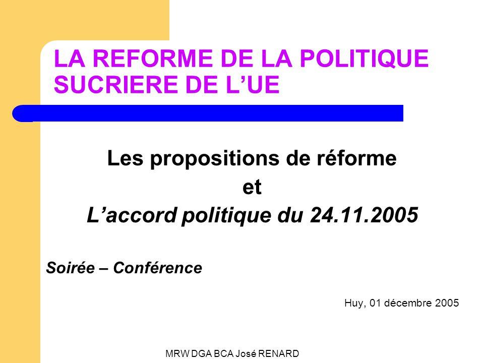MRW DGA BCA José RENARD LA REFORME DE LA POLITIQUE SUCRIERE DE LUE Les propositions de réforme et Laccord politique du 24.11.2005 Soirée – Conférence Huy, 01 décembre 2005