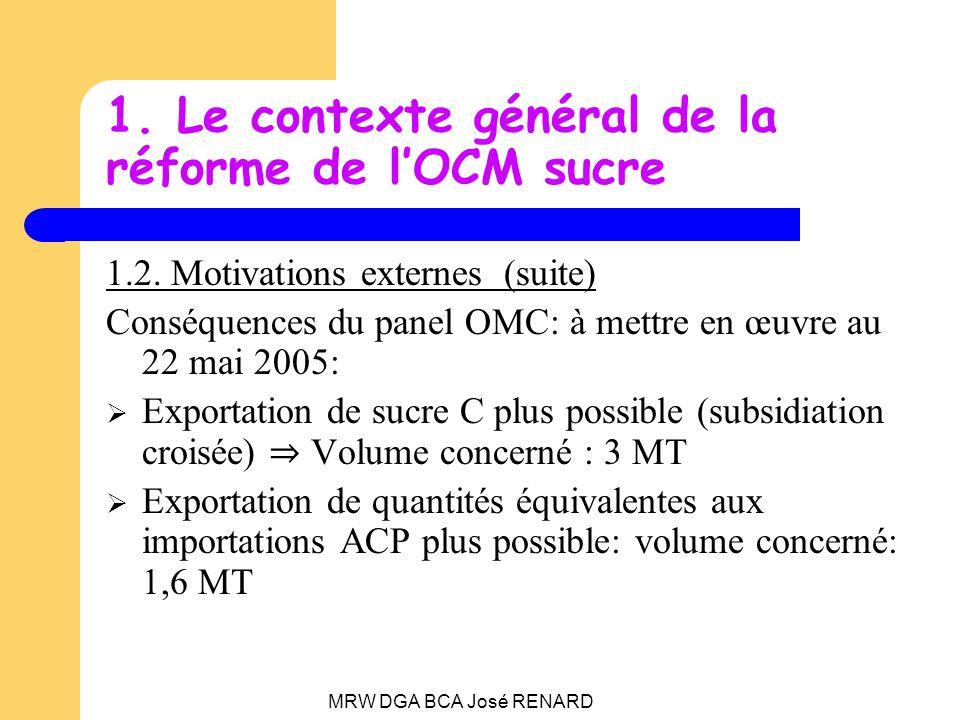 MRW DGA BCA José RENARD 1.Le contexte général de la réforme de lOCM sucre 1.2.