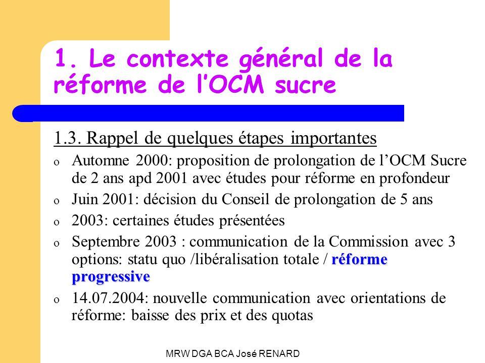 MRW DGA BCA José RENARD 2.Les propositions du 22 juin 2005 Un ensemble de 4 propositions: Une nouvelle OCM du sucre Un fonds de restructuration volontaire pour lindustrie Des mesures daides de compensations pour les planteurs incluses dans les règlements de réforme de la PAC Un plan daccompagnement pour les fournisseurs ACP (pas abordé ici)