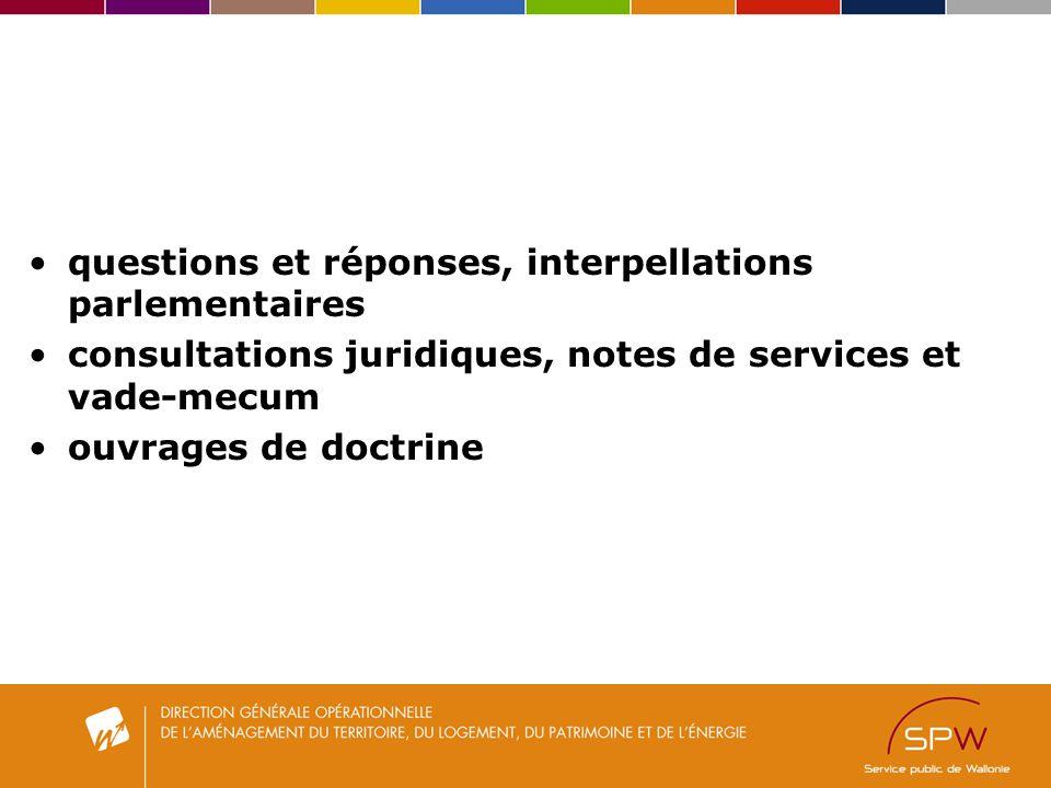 questions et réponses, interpellations parlementaires consultations juridiques, notes de services et vade-mecum ouvrages de doctrine