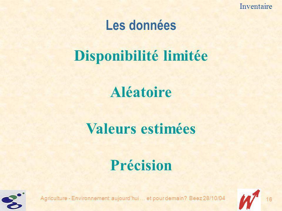 Agriculture - Environnement: aujourdhui … et pour demain? Beez 28/10/04 16 Inventaire Les données Disponibilité limitée Aléatoire Valeurs estimées Pré