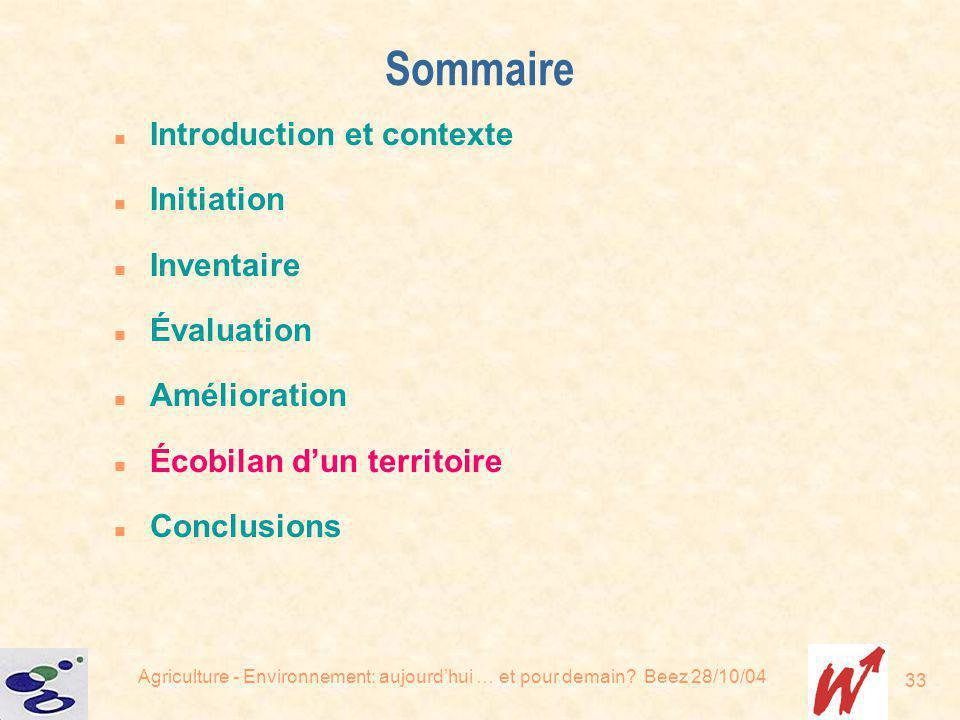 Agriculture - Environnement: aujourdhui … et pour demain? Beez 28/10/04 33 Sommaire n Introduction et contexte n Initiation n Inventaire n Évaluation