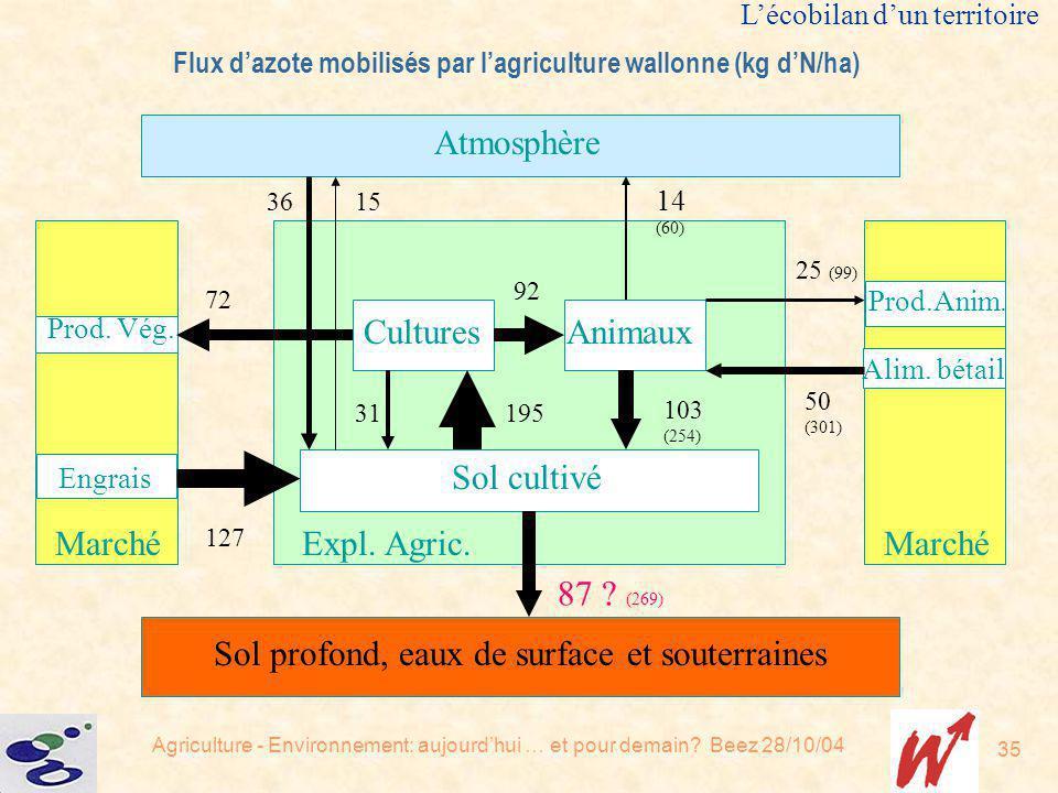 Agriculture - Environnement: aujourdhui … et pour demain? Beez 28/10/04 35 Sol cultivé CulturesAnimaux Expl. Agric. Atmosphère Sol profond, eaux de su