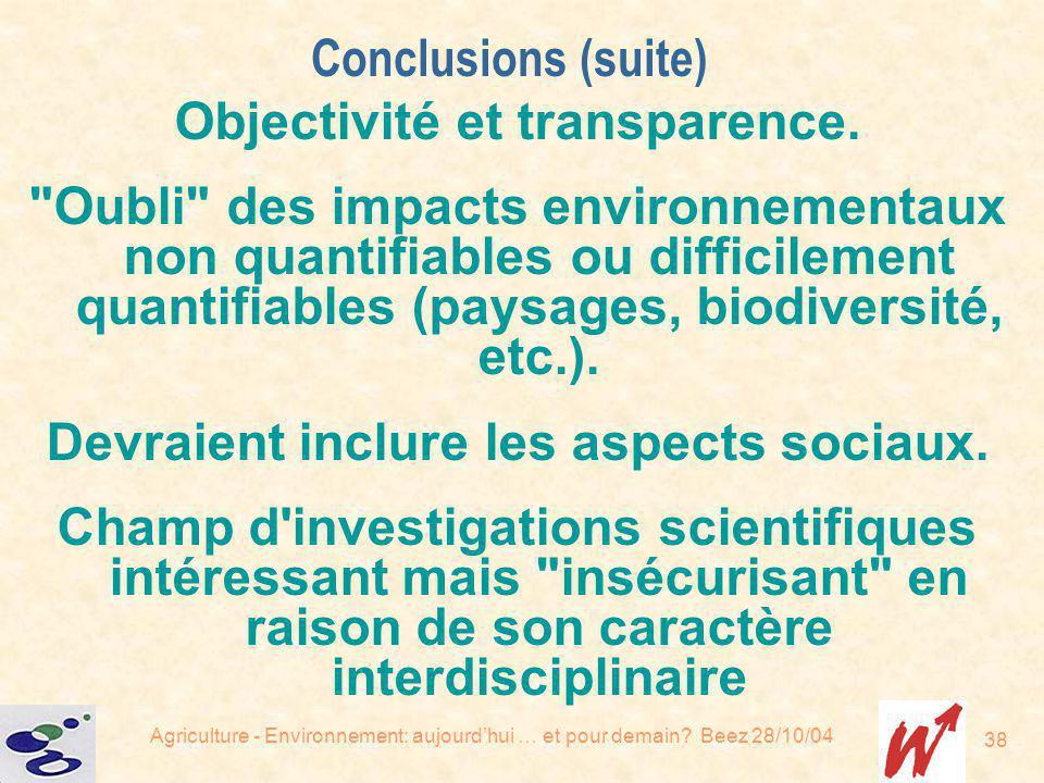 Agriculture - Environnement: aujourdhui … et pour demain? Beez 28/10/04 38 Objectivité et transparence.