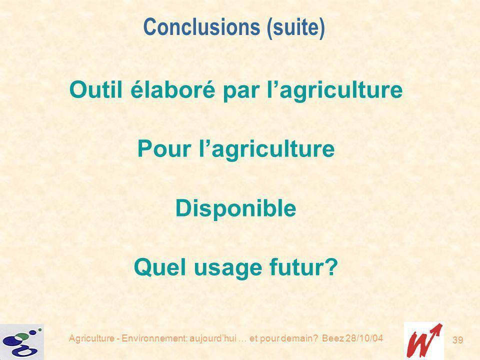 Agriculture - Environnement: aujourdhui … et pour demain? Beez 28/10/04 39 Outil élaboré par lagriculture Pour lagriculture Disponible Quel usage futu
