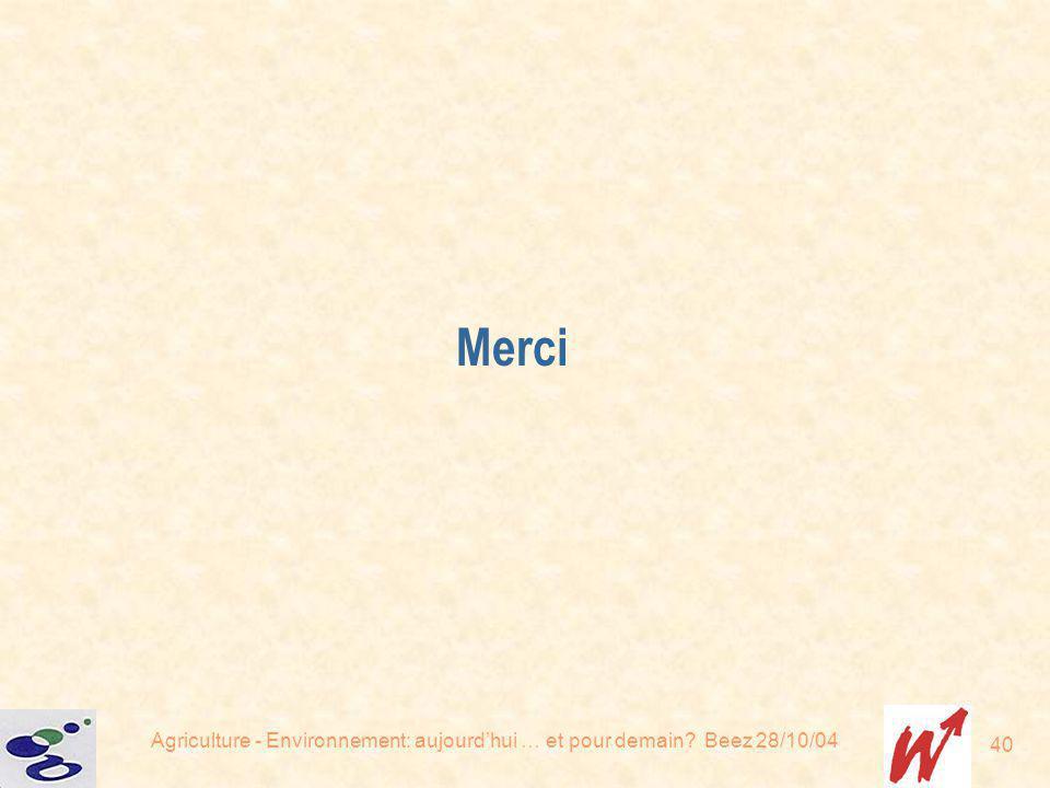 Agriculture - Environnement: aujourdhui … et pour demain? Beez 28/10/04 40 Merci