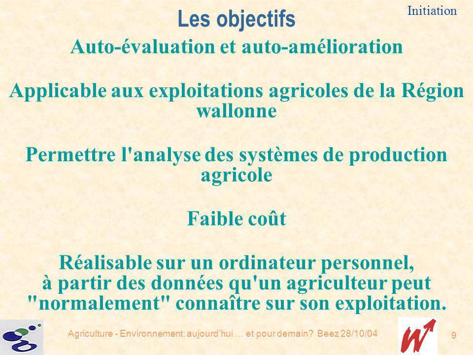 Agriculture - Environnement: aujourdhui … et pour demain? Beez 28/10/04 9 Auto-évaluation et auto-amélioration Applicable aux exploitations agricoles