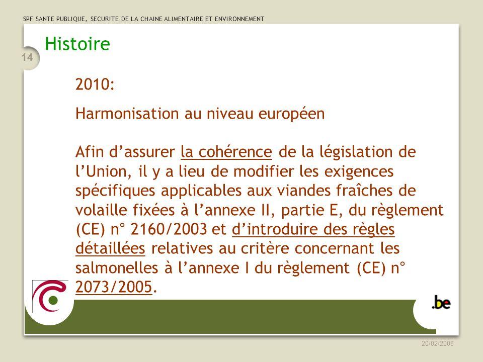 SPF SANTE PUBLIQUE, SECURITE DE LA CHAINE ALIMENTAIRE ET ENVIRONNEMENT 20/02/2008 14 Histoire 2010: Harmonisation au niveau européen Afin dassurer la cohérence de la législation de lUnion, il y a lieu de modifier les exigences spécifiques applicables aux viandes fraîches de volaille fixées à lannexe II, partie E, du règlement (CE) n° 2160/2003 et dintroduire des règles détaillées relatives au critère concernant les salmonelles à lannexe I du règlement (CE) n° 2073/2005.