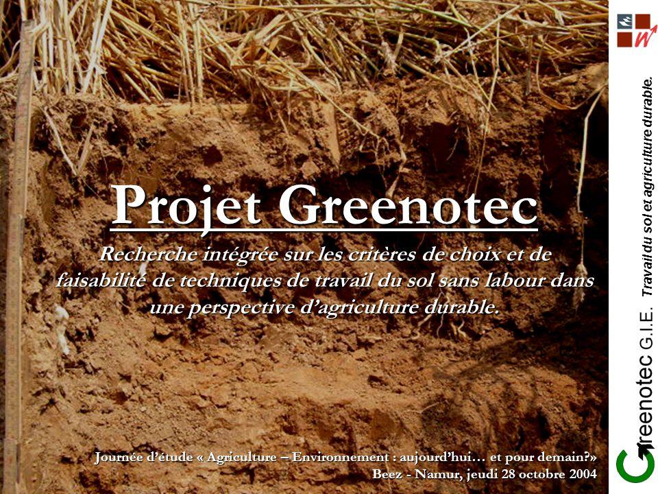 Travail du sol et agriculture durable. Projet Greenotec Recherche intégrée sur les critères de choix et de faisabilité de techniques de travail du sol
