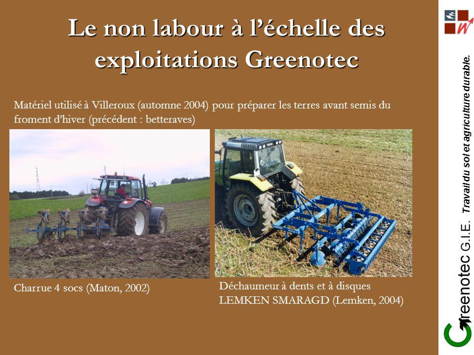 Travail du sol et agriculture durable. Le non labour à léchelle des exploitations Greenotec Matériel utilisé à Villeroux (automne 2004) pour préparer