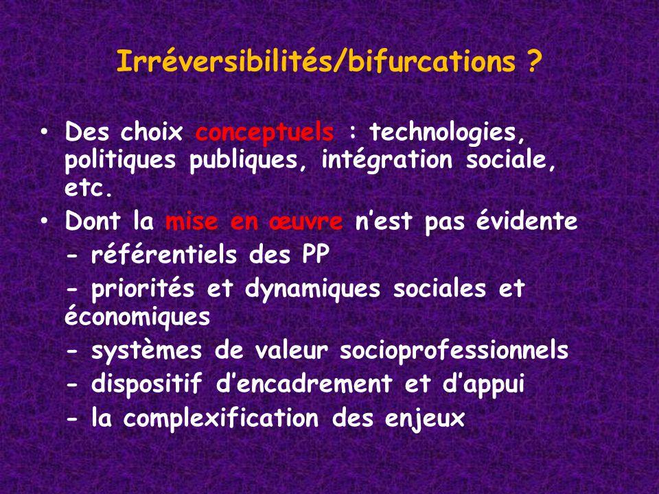 Irréversibilités/bifurcations .