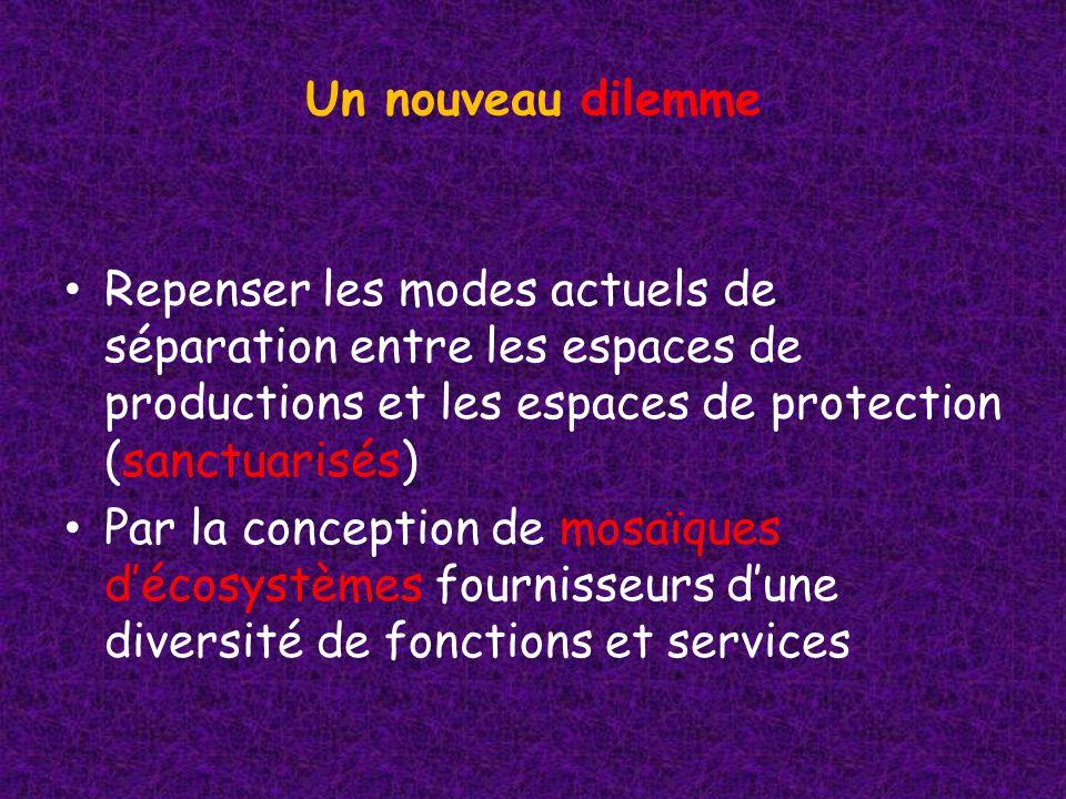 Un nouveau dilemme Repenser les modes actuels de séparation entre les espaces de productions et les espaces de protection (sanctuarisés) Par la conception de mosaïques décosystèmes fournisseurs dune diversité de fonctions et services