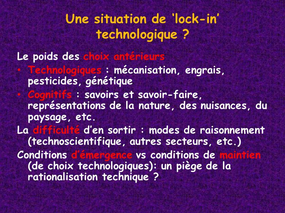 Une situation de lock-in technologique ? Le poids des choix antérieurs Technologiques : mécanisation, engrais, pesticides, génétique Cognitifs : savoi