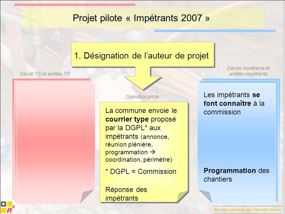 Direction générale des Pouvoirs locaux Décret TS et arrêtés TS Décret impétrants et arrêtés impétrants Opération pilote Projet pilote « Impétrants 2007 » 2.