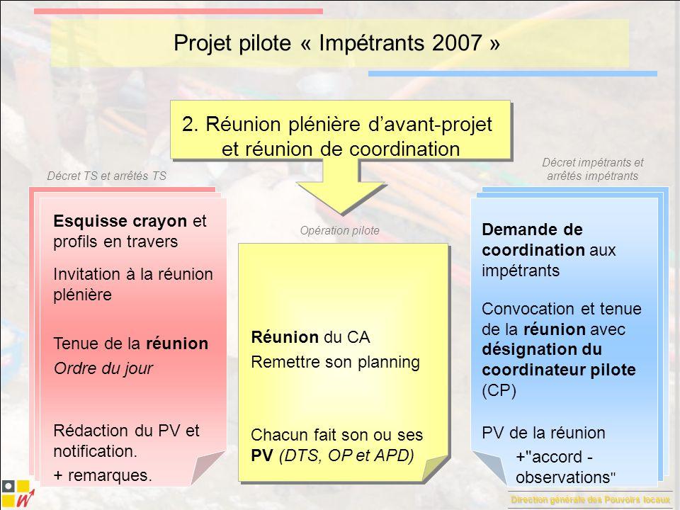 Direction générale des Pouvoirs locaux Décret TS et arrêtés TS Décret impétrants et arrêtés impétrants Opération pilote Projet pilote « Impétrants 2007 » 3.