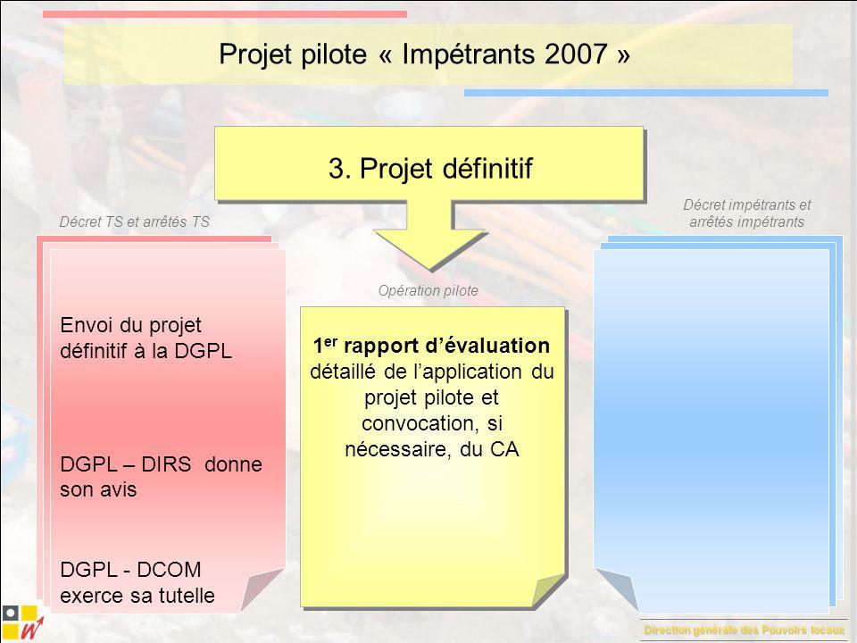Direction générale des Pouvoirs locaux Décret TS et arrêtés TS Décret impétrants et arrêtés impétrants Opération pilote Projet pilote « Impétrants 2007 » 4.