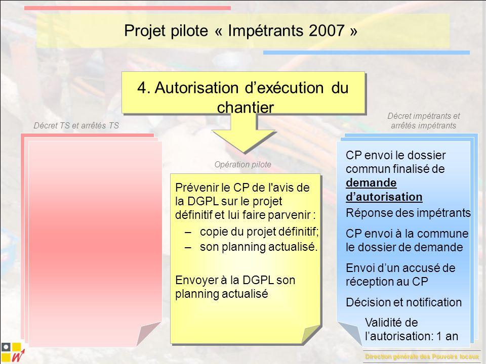 Direction générale des Pouvoirs locaux Décret TS et arrêtés TS Décret impétrants et arrêtés impétrants Opération pilote Projet pilote « Impétrants 2007 » 5.