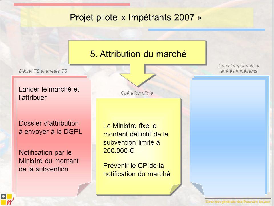 Direction générale des Pouvoirs locaux Décret TS et arrêtés TS Décret impétrants et arrêtés impétrants Opération pilote Projet pilote « Impétrants 2007 » 6.