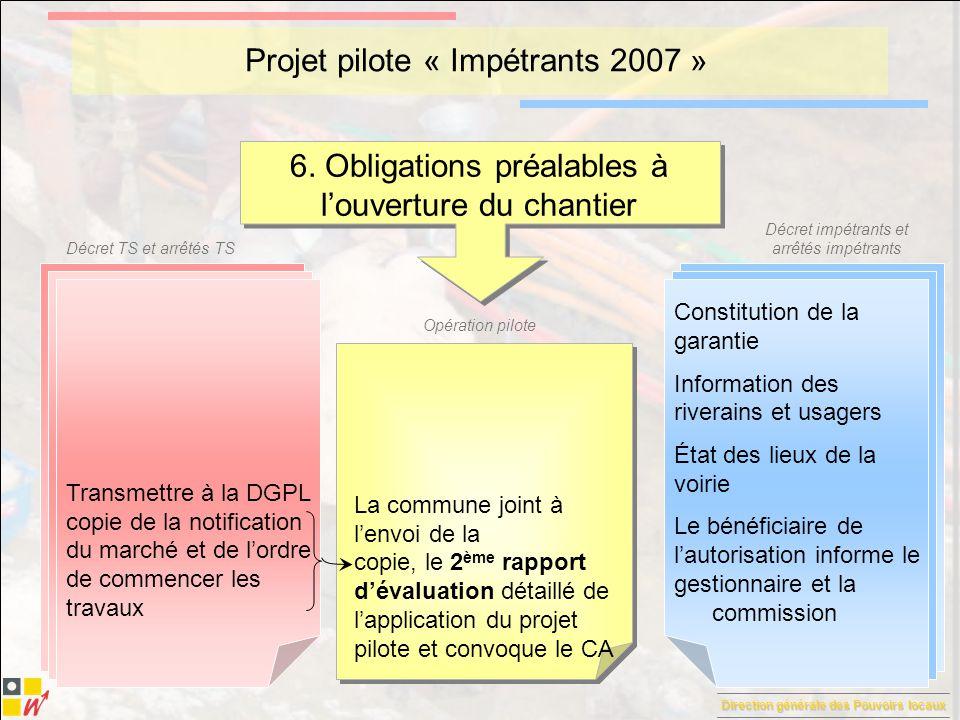 Direction générale des Pouvoirs locaux Décret TS et arrêtés TS Décret impétrants et arrêtés impétrants Opération pilote Projet pilote « Impétrants 2007 » 7.