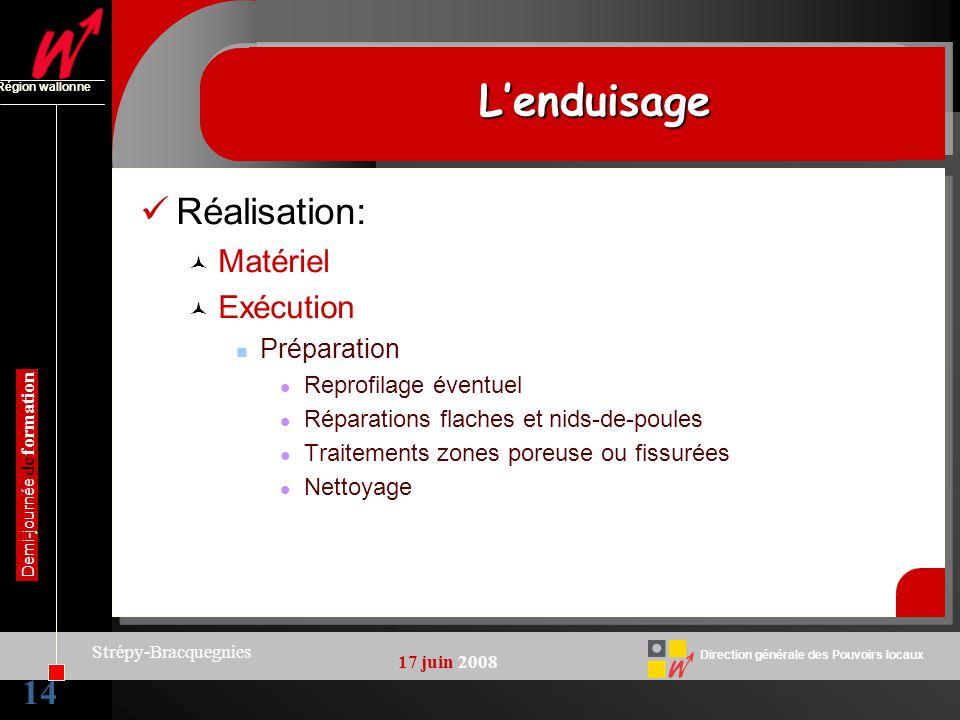 14 Direction générale des Pouvoirs locaux Région wallonne 17 juin 2008 Demi-journée de formation Strépy-Bracquegnies LenduisageLenduisage Réalisation: