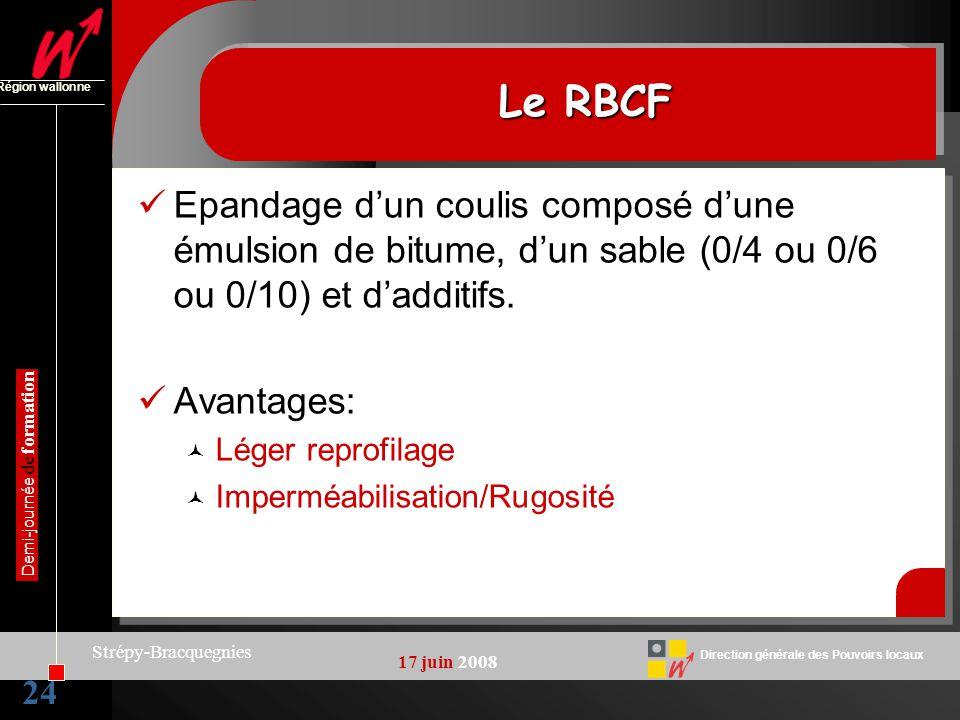 24 Direction générale des Pouvoirs locaux Région wallonne 17 juin 2008 Demi-journée de formation Strépy-Bracquegnies Le RBCF Epandage dun coulis compo