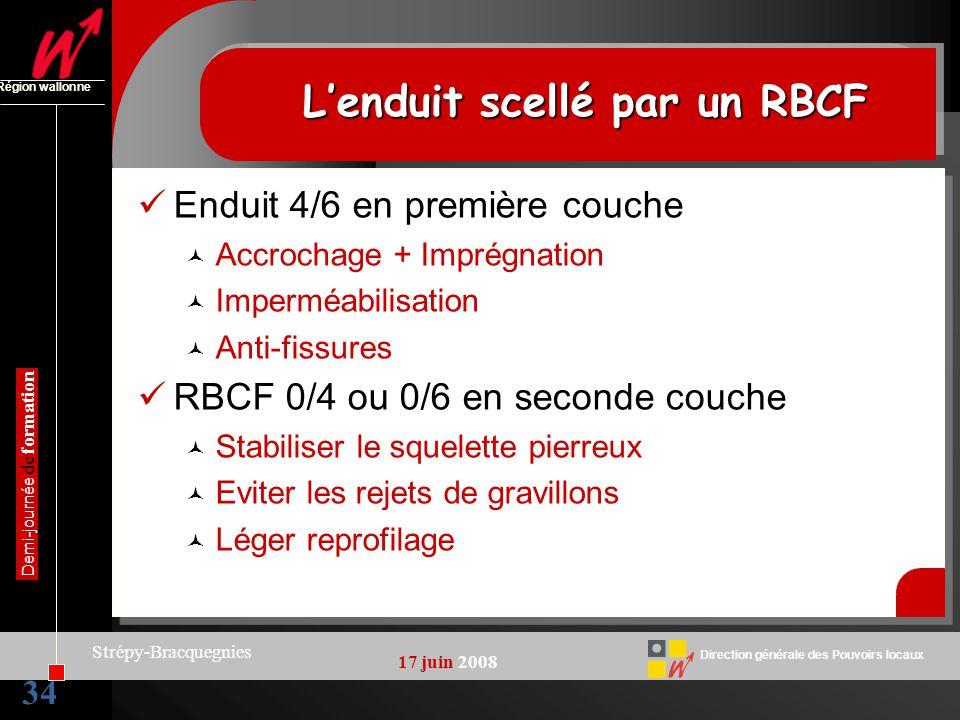 34 Direction générale des Pouvoirs locaux Région wallonne 17 juin 2008 Demi-journée de formation Strépy-Bracquegnies Lenduit scellé par un RBCF Enduit
