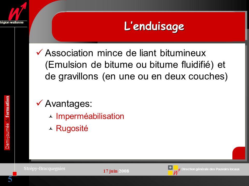 5 Direction générale des Pouvoirs locaux Région wallonne 17 juin 2008 Demi-journée de formation Strépy-Bracquegnies LenduisageLenduisage Association m