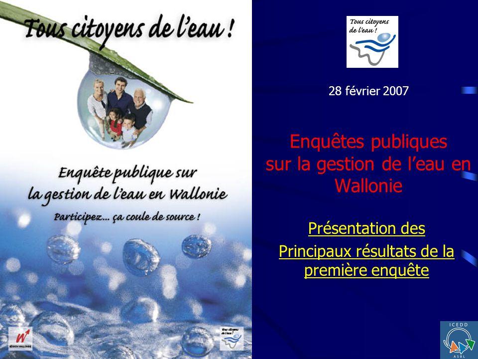 28 février 2007 Enquêtes publiques sur la gestion de leau en Wallonie Présentation des Principaux résultats de la première enquête