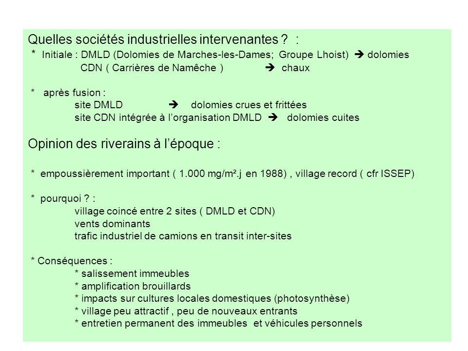 Quelles sociétés industrielles intervenantes ? : * Initiale : DMLD (Dolomies de Marches-les-Dames; Groupe Lhoist) dolomies CDN ( Carrières de Namêche