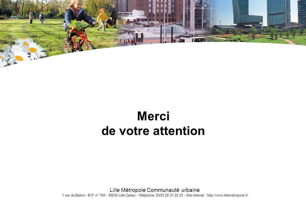 Lille Métropole Communauté urbaine 1 rue du Ballon - B.P. n° 749 - 59034 Lille Cedex - Téléphone 33/03 20 21 22 23 - Site internet : http://www.lillem