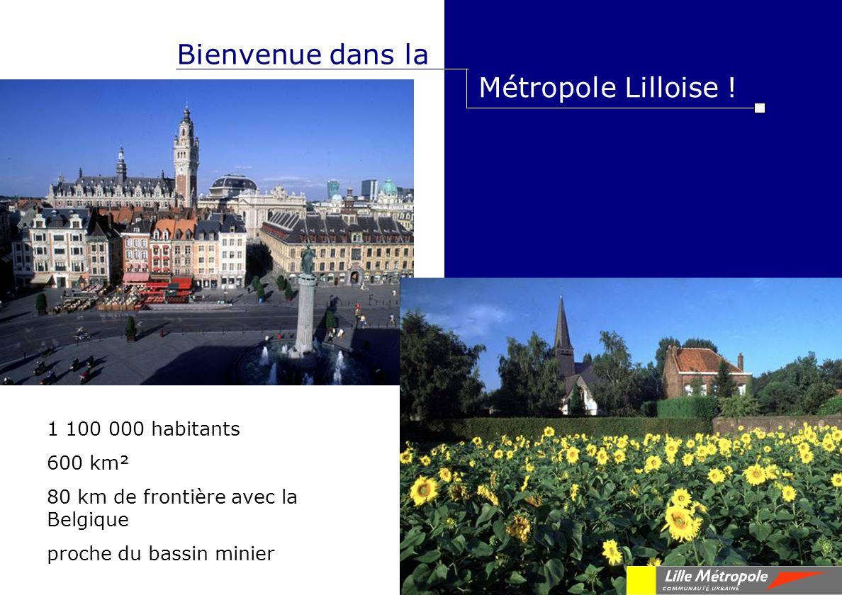 Bienvenue dans la Métropole Lilloise ! 1 100 000 habitants 600 km² 80 km de frontière avec la Belgique proche du bassin minier