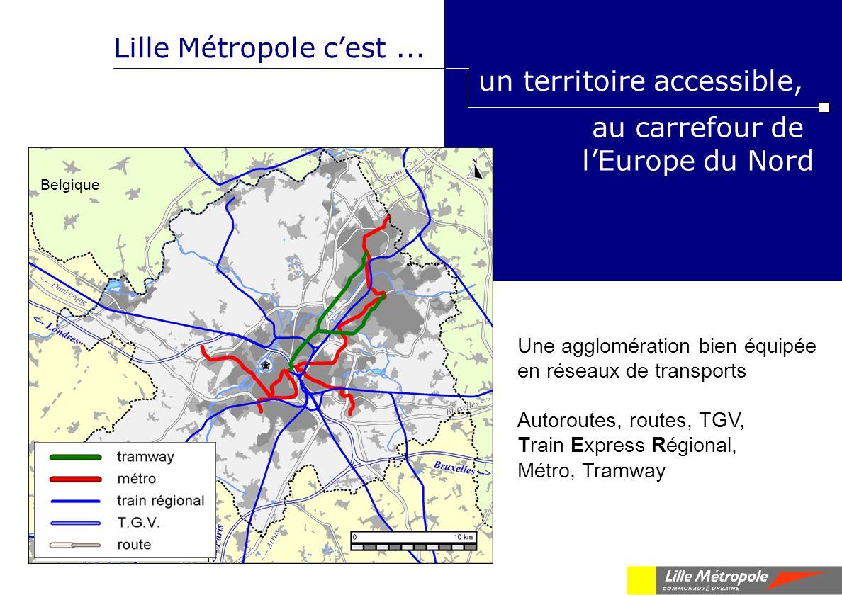 au carrefour de lEurope du Nord Lille Métropole cest... un territoire accessible, Belgique Une agglomération bien équipée en réseaux de transports Aut
