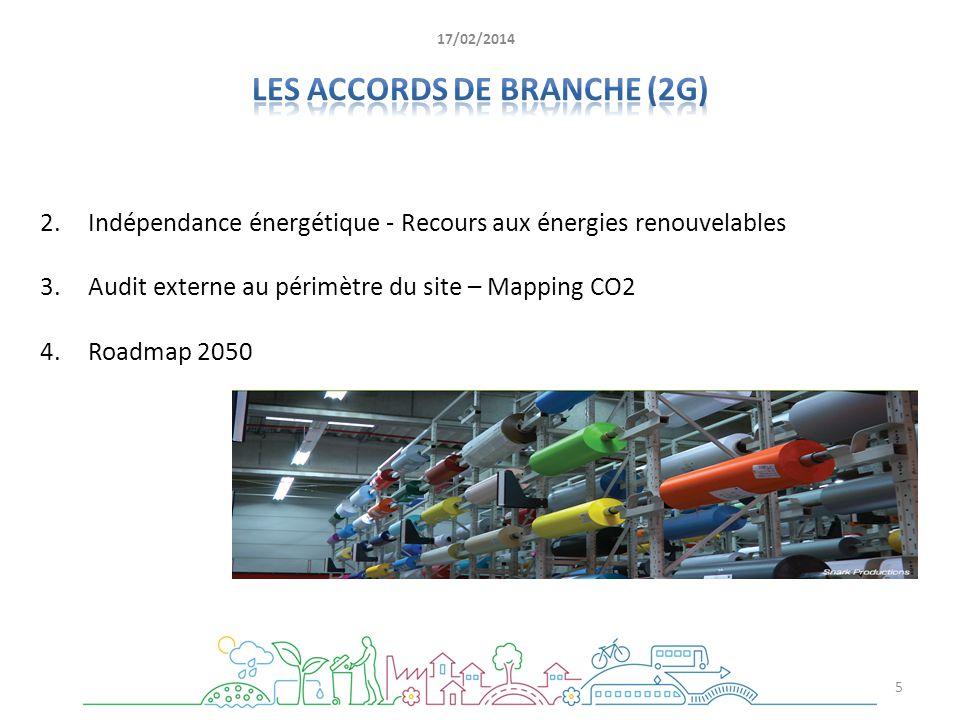 2.Indépendance énergétique - Recours aux énergies renouvelables 3.Audit externe au périmètre du site – Mapping CO2 4.Roadmap 2050 5 17/02/2014