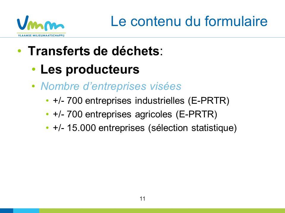 11 Le contenu du formulaire Transferts de déchets: Les producteurs Nombre dentreprises visées +/- 700 entreprises industrielles (E-PRTR) +/- 700 entreprises agricoles (E-PRTR) +/- 15.000 entreprises (sélection statistique)