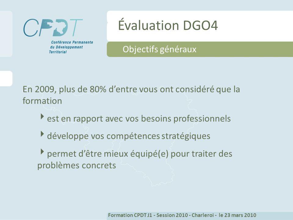 Évaluation DGO4 Objectifs généraux En 2009, plus de 80% dentre vous ont considéré que la formation est en rapport avec vos besoins professionnels développe vos compétences stratégiques permet dêtre mieux équipé(e) pour traiter des problèmes concrets Formation CPDT J1 - Session 2010 - Charleroi - le 23 mars 2010