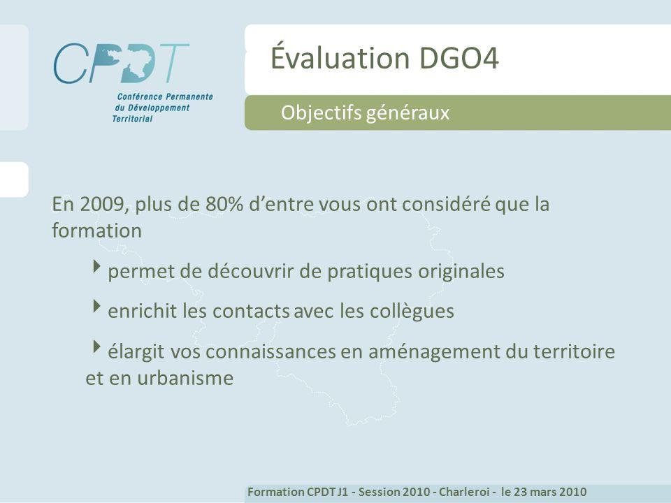 Évaluation DGO4 Objectifs généraux En 2009, plus de 80% dentre vous ont considéré que la formation permet de découvrir de pratiques originales enrichit les contacts avec les collègues élargit vos connaissances en aménagement du territoire et en urbanisme Formation CPDT J1 - Session 2010 - Charleroi - le 23 mars 2010