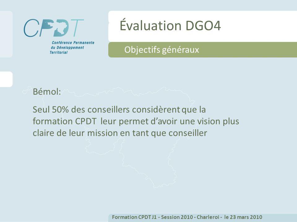 Évaluation DGO4 Objectifs généraux Bémol: Seul 50% des conseillers considèrent que la formation CPDT leur permet davoir une vision plus claire de leur mission en tant que conseiller Formation CPDT J1 - Session 2010 - Charleroi - le 23 mars 2010