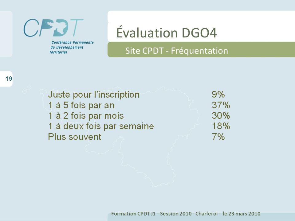 Évaluation DGO4 19 Site CPDT - Fréquentation Formation CPDT J1 - Session 2010 - Charleroi - le 23 mars 2010